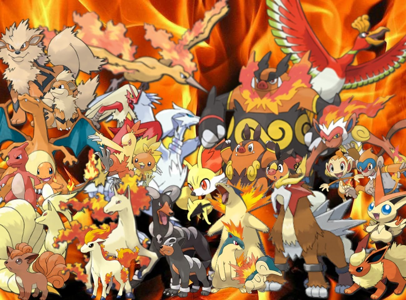 all fire type starter pokemon pictures