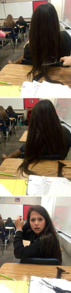 Bilderesultat for girl in front of you won t get her hair off your desk