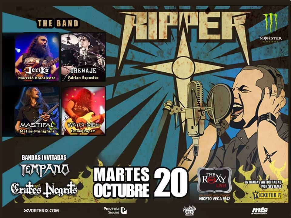 Tim Ripper Owens en vivo martes 20/10 en The Roxy Live